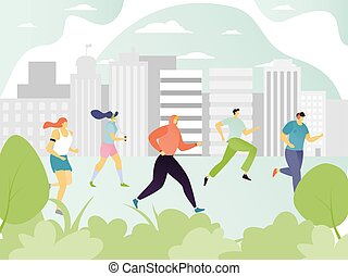 People running in city, jogging men and women cartoon characters, sport marathon vector illustration