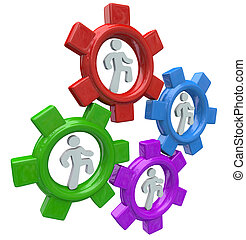 People Running in Gears to Power Teamwork and Progress