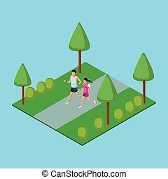 People running in park 3d