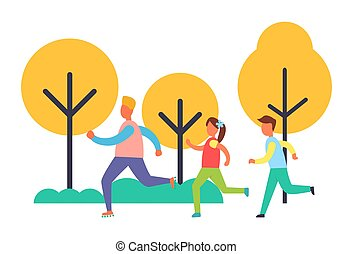 People Running in Park Set, Vector Cartoon Icon