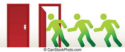 people running into an open door