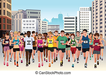 People running marathon - A vector illustration of group of...