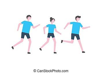 People Running Marathon Vector Athletes Isolated
