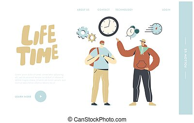 People Running Out of Time Landing Page Template. Students Male Characters Hurry Up in University Lessons. Time Schedule