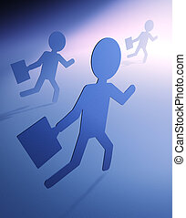 People rush to work illustration