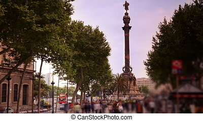 people rushing about on las ramblas, famous street in ...