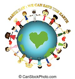 People save the earth, Earth day concept