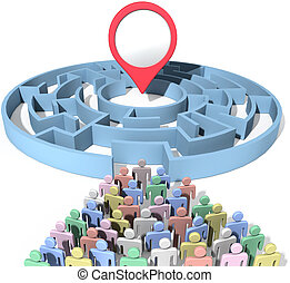 People search maze place location marker - People seek to...