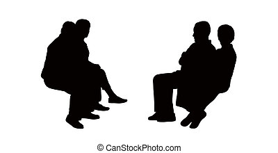 black silhouettes of old couples seated outdoor and talking, profile view