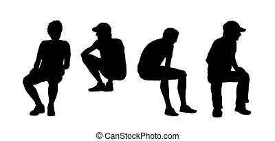 people seated outdoor silhouettes set 13