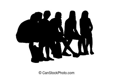 Medium group of children seated silhouette 2. Black ...