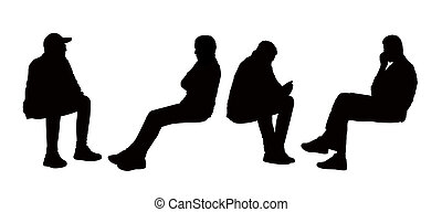 black silhouettes of young men seated outdoor in different postures reading, speaking on the phone or just watching, front and profile views