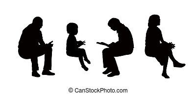 people seated outdoor silhouettes set 8