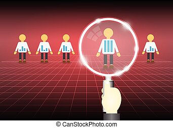 Illustration of model people and magnifier on dark background.