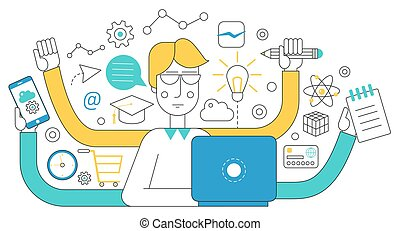 People self employment and different multitasking concept. Fast talented freelancer man near laptop. Project management business multitasking Flat line concept.