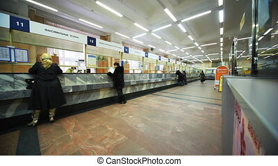 People send telegrams in Moscow Central Telegraph in Moscow...