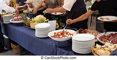 people serving in a meeting event, catering set