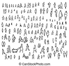 People set contains black silhouettes of artistically drawn people