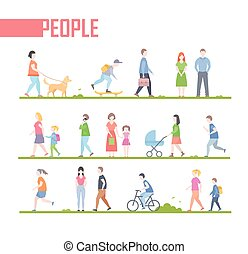 People - set of vector cartoon flat design style characters illustration