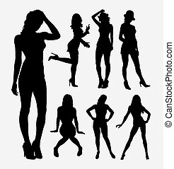 People sexy female activity silhouette
