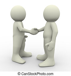 People shaking hands - 3d render of two man shaking hands