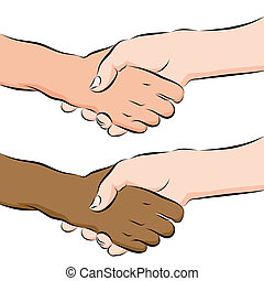 People Shaking Hands Line Drawing - An image of a people...