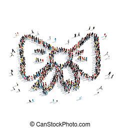 people shape bow-tie cartoon,