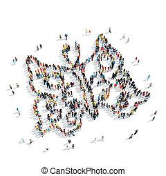 people shape butterfly cartoon