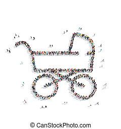 people shape child stroller