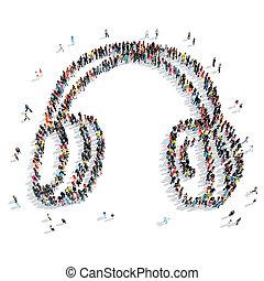 people shape earphone cartoon