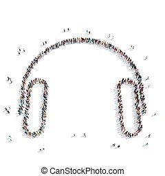 people shape headphones music