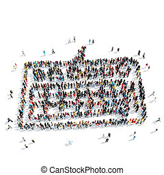 people shape keyboard cartoon