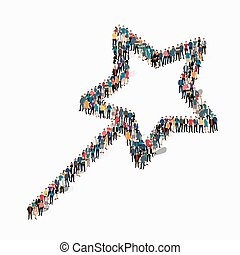 people shape magic wand - A large group of people in the...