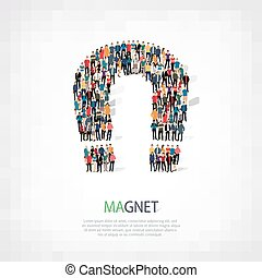 people shape magnet horseshoe - A large group of people in...