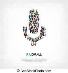 people shape microphone karaoke - A large group of people in...