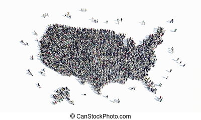 people shape of a map of America - A large group of people...