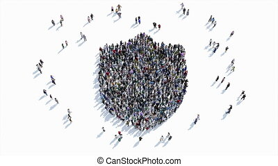 people shape of a Shield , protection sign. - A large group...