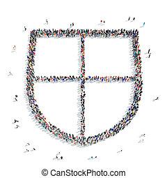 people  shape  shield icon