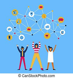 People share information on social media network