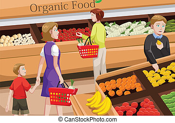 People shopping for organic food - A vector illustration of...
