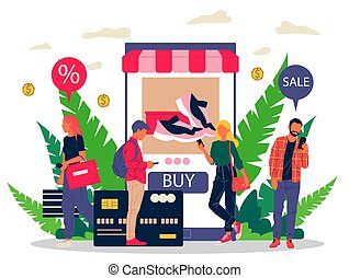 People shopping goods online using mobile application vector illustration. Customers ordering sneakers via internet with discount. Electronic commerce, internet shopping, website retailing