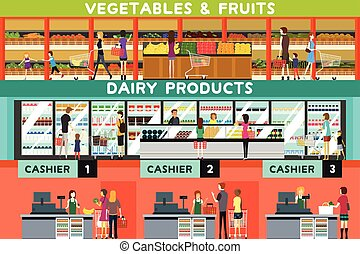 People Shopping in a Grocery Store - A vector illustration...