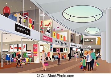 People shopping in a mall - A vector illustration of people...
