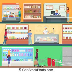 People shopping in a supermarket concept set collection. Customers buing products in food supermarket store market.