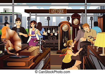 A vector illustration of people shopping in the market of antique stuff