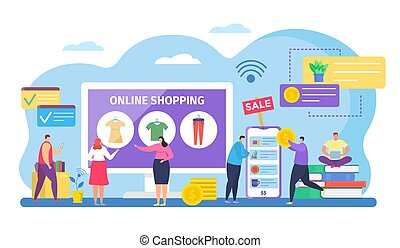 People shopping online vector illustration, cartoon tiny shoppers characters buying clothes on internet sale in mobile app isolated on white