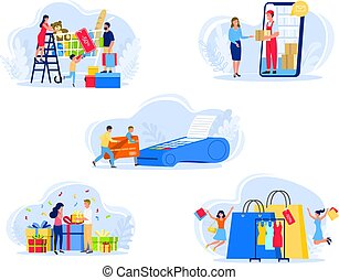People shopping vector illustration, family or couple characters in shop pay by card, receive purchase or gift, icons set isolated on white