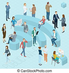 People sign of public wi-fi. Flat design 3d isometric people, men and women various poses, styles and professions front and back view.