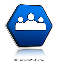 people sign on blue button