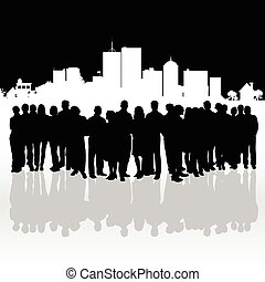 people silhouette front of building illustration